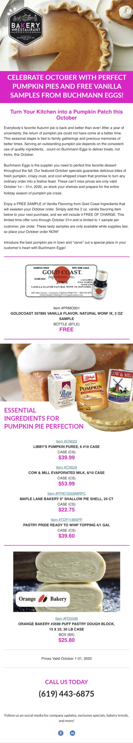 Celebrate October With Perfect Pumpkin Pies And Free Vanilla Samples From Buchmann Eggs!